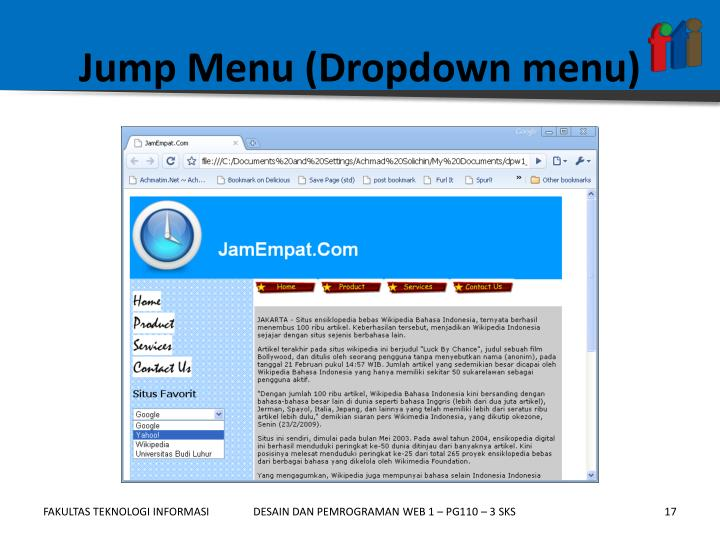 Jump Menu (Dropdown menu)