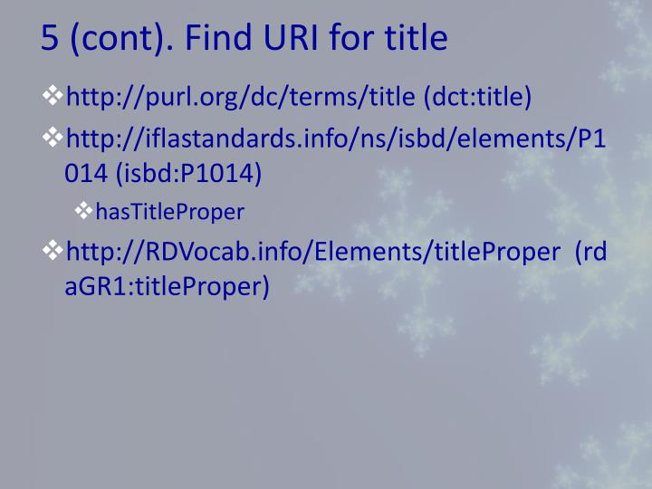 5 (cont). Find URI for title
