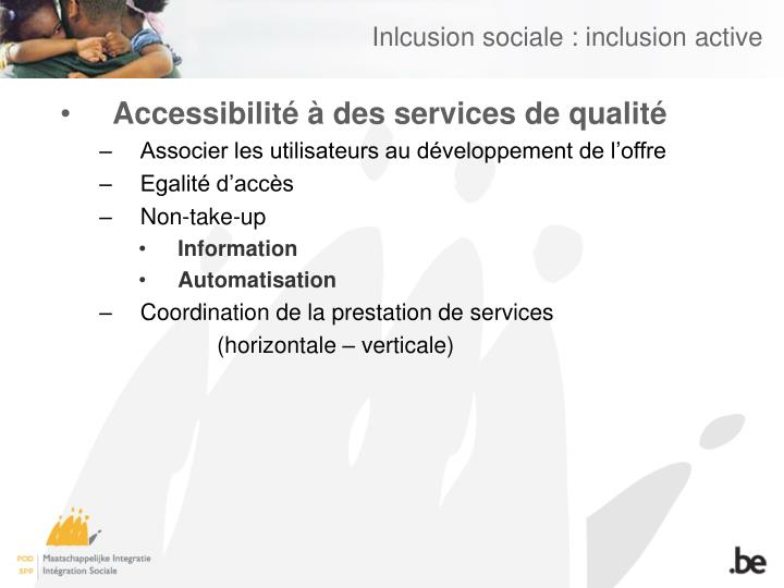 Inlcusion sociale : inclusion active