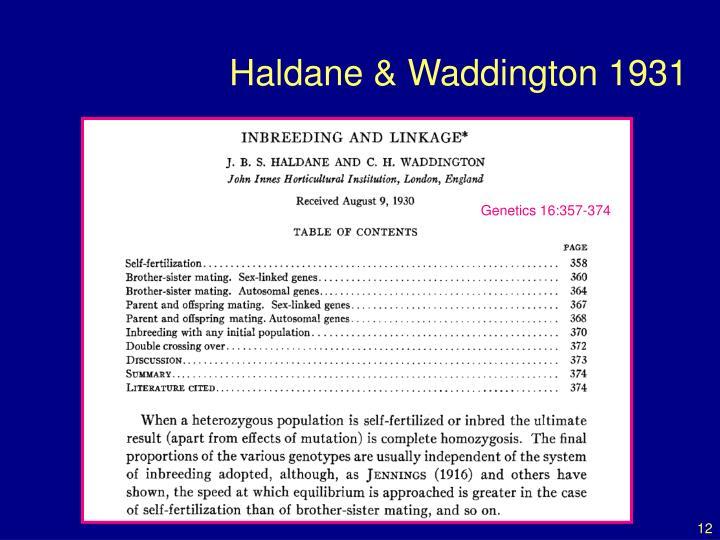 Haldane & Waddington 1931