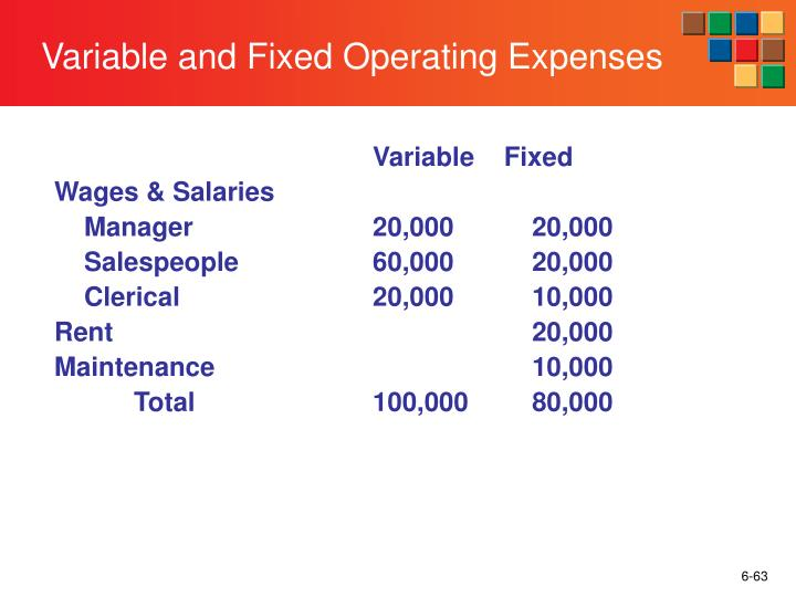Variable and Fixed Operating Expenses
