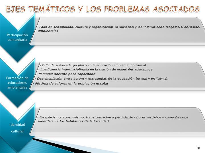 EJES TEMÁTICOS Y LOS PROBLEMAS ASOCIADOS