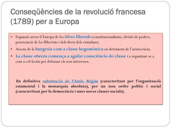 Conseqüències de la revolució francesa (1789) per a Europa