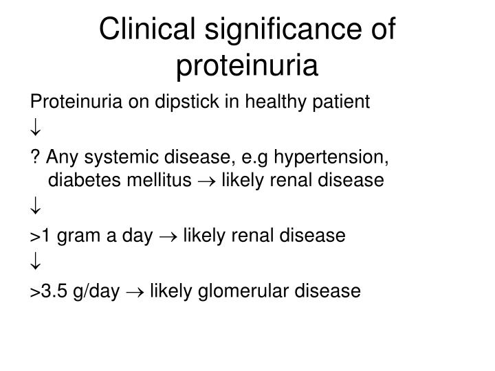 Clinical significance of proteinuria