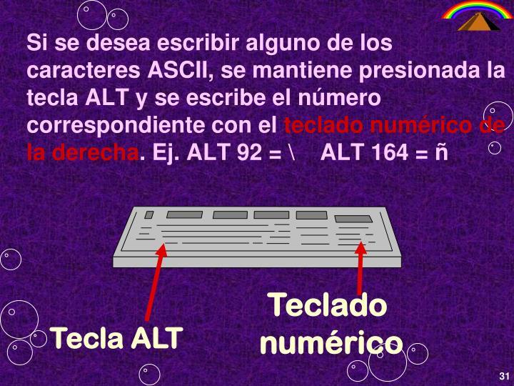 Si se desea escribir alguno de los caracteres ASCII, se mantiene presionada la tecla ALT y se escribe el número correspondiente con el