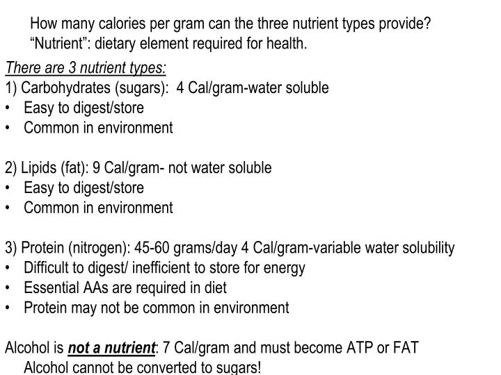 How many calories per gram can the three nutrient types provide?