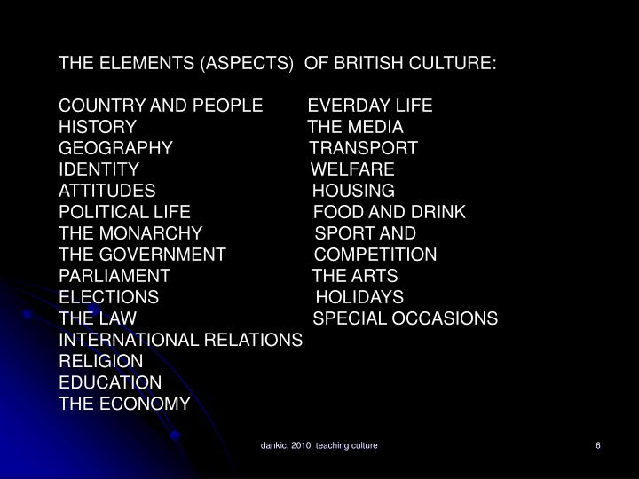 THE ELEMENTS (ASPECTS)  OF BRITISH CULTURE: