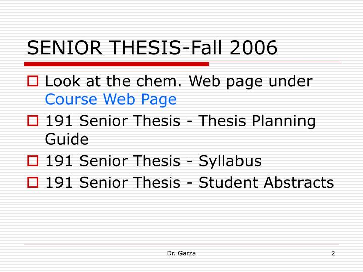 SENIOR THESIS-Fall 2006