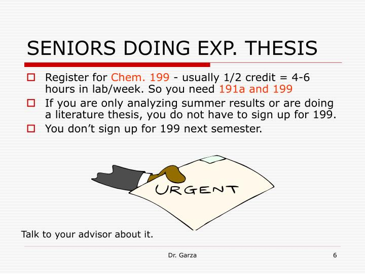 SENIORS DOING EXP. THESIS