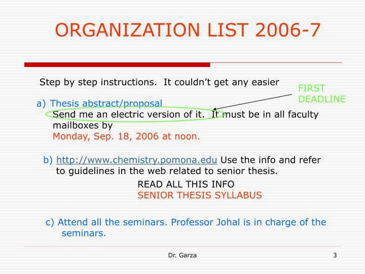 ORGANIZATION LIST 2006-7