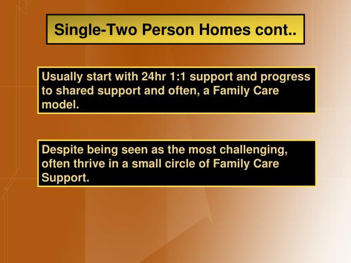 Single-Two Person Homes cont..