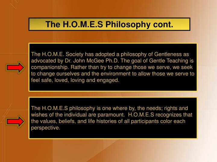 The H.O.M.E.S Philosophy cont.