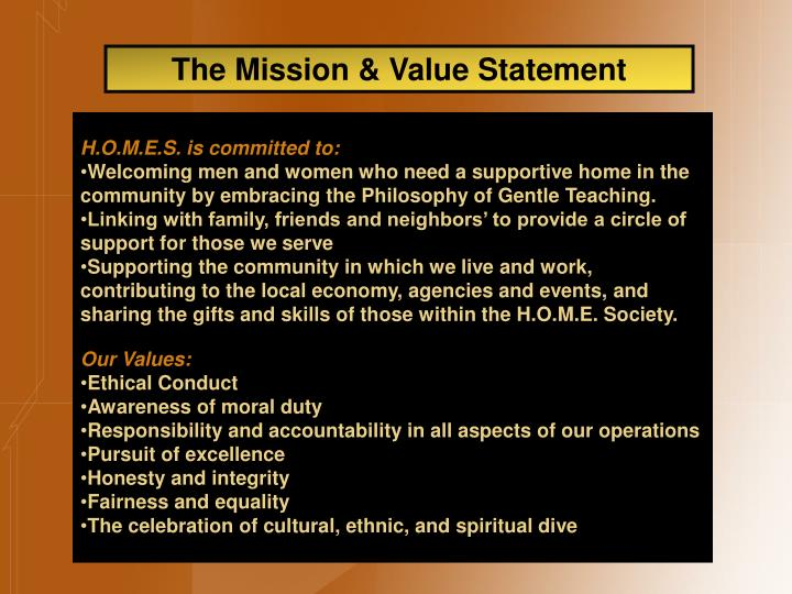 The Mission & Value Statement