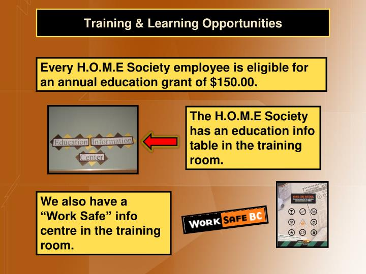 Training & Learning Opportunities