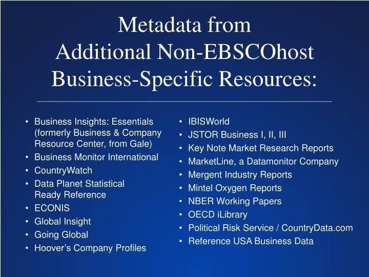 Metadata from