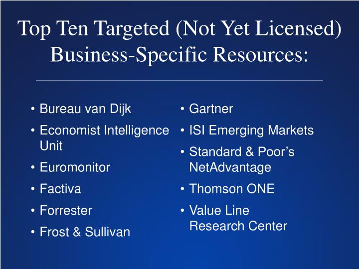 Top Ten Targeted (Not Yet Licensed) Business-Specific Resources: