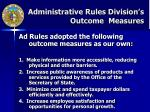 administrative rules division s outcome measures