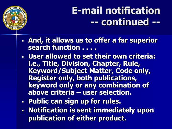 E-mail notification