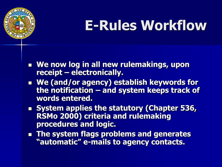 E-Rules Workflow