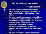 goals met or exceeded continued
