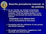 rewrite procedures manual in its entirety