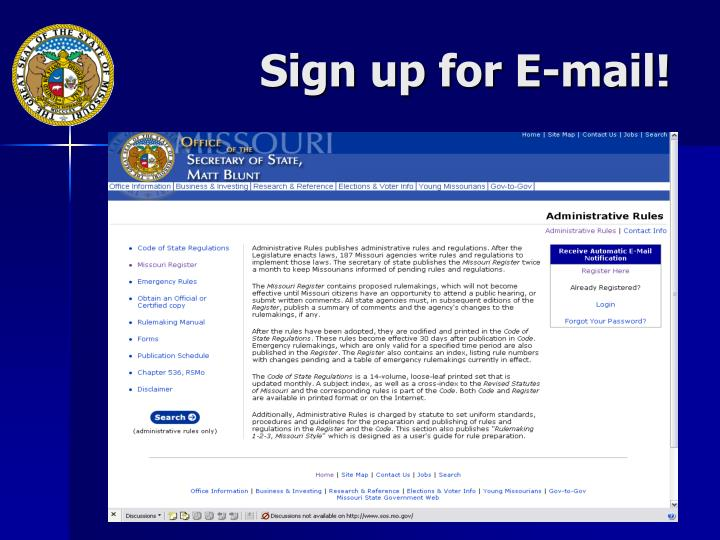 Sign up for E-mail!