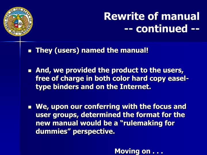 Rewrite of manual