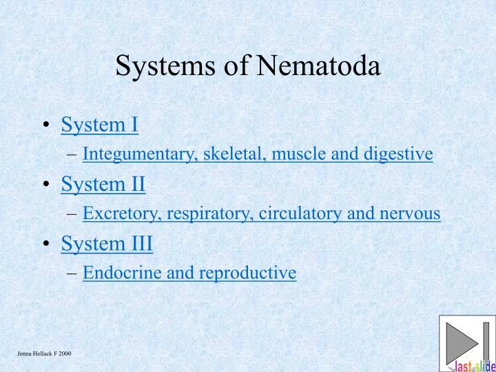 Systems of Nematoda