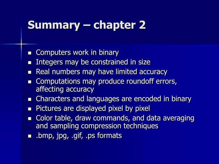 Summary – chapter 2
