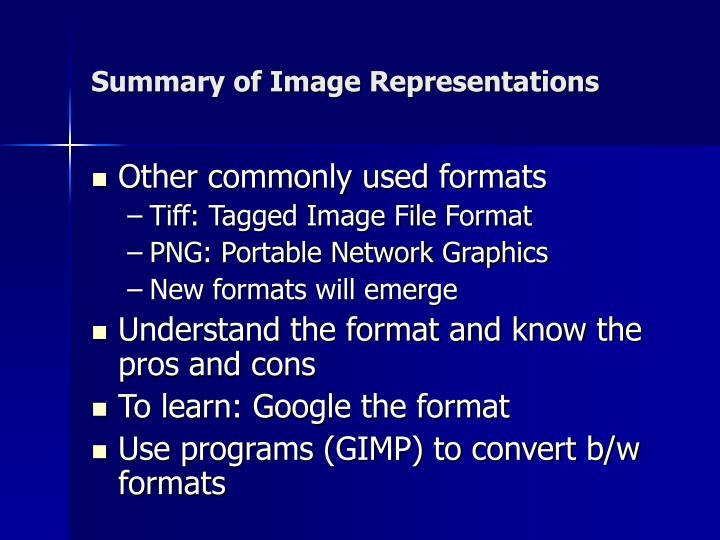 Summary of Image Representations