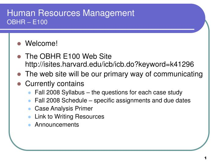 Human resources management obhr e100