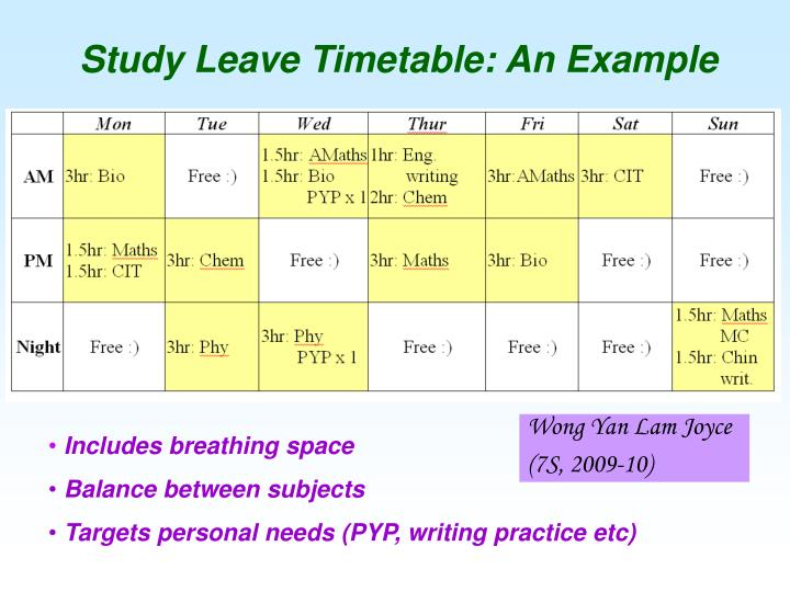 Study Leave Timetable: An Example