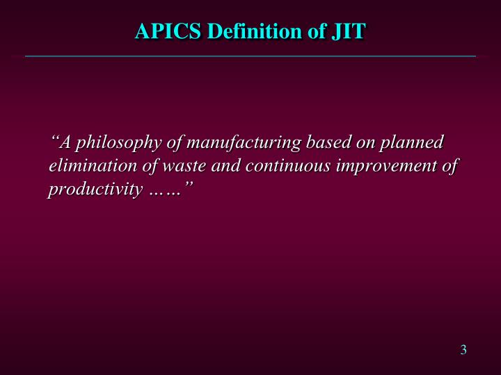 Apics definition of jit