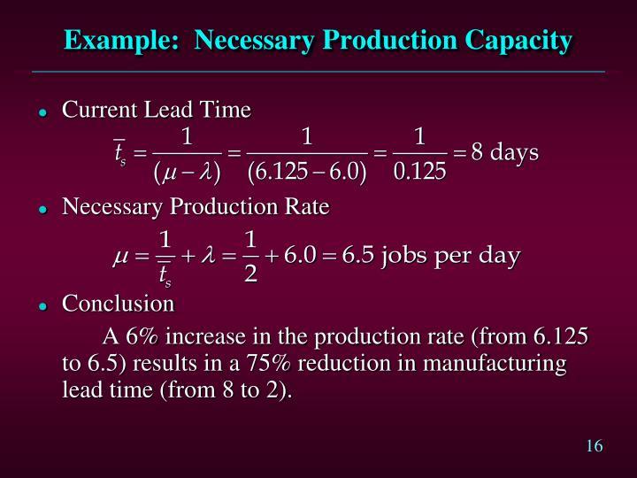 Example:  Necessary Production Capacity