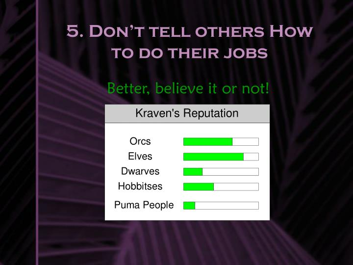 5. Don't tell others How