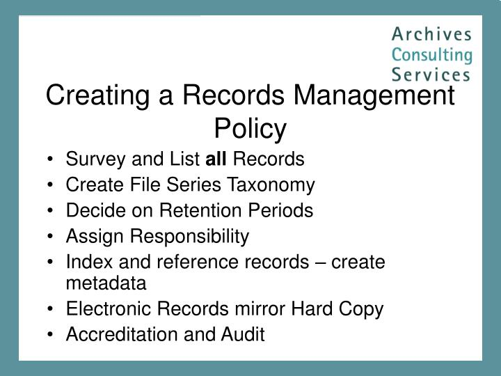 Creating a Records Management Policy