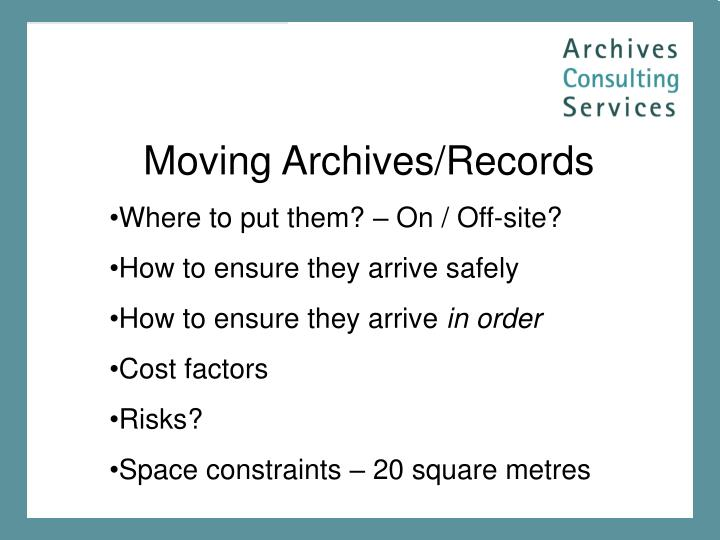 Moving Archives/Records
