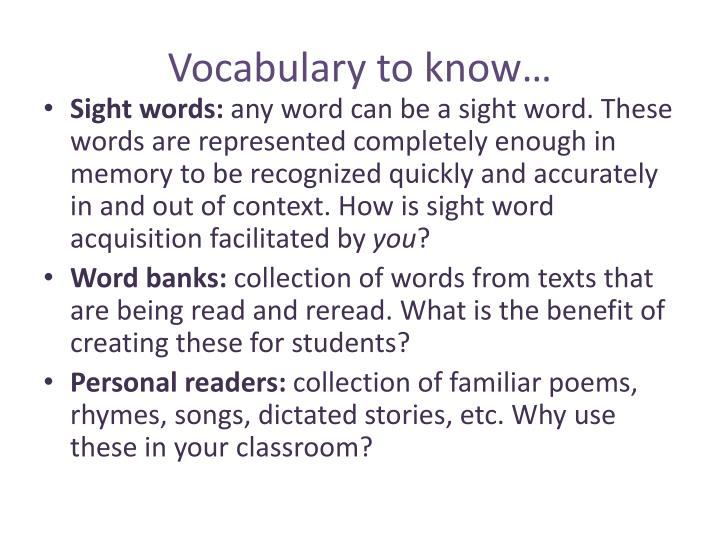 Vocabulary to know
