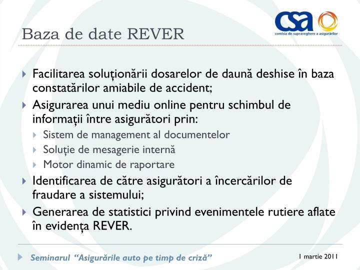 Baza de date REVER