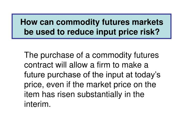 How can commodity futures markets