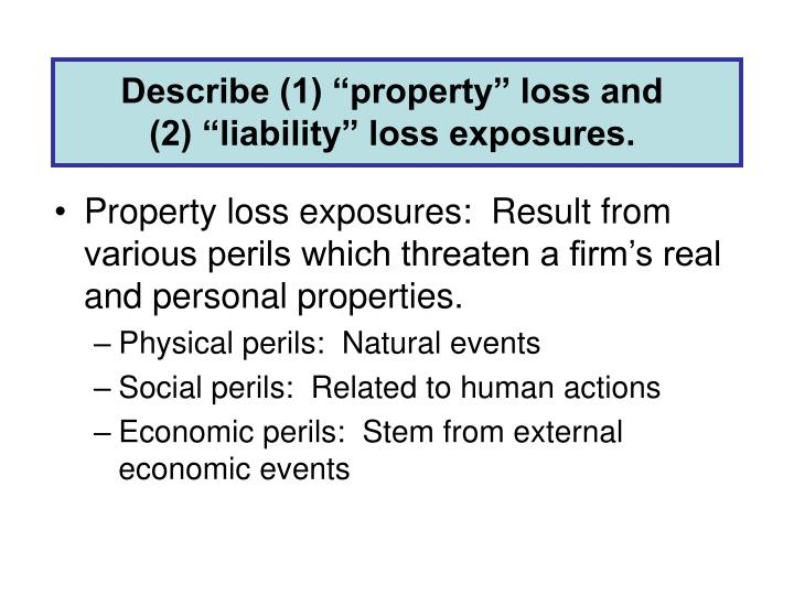 "Describe (1) ""property"" loss and"