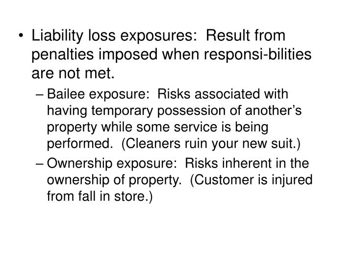 Liability loss exposures