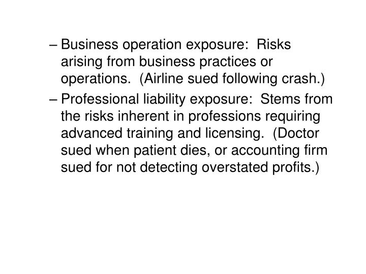 Business operation exposure