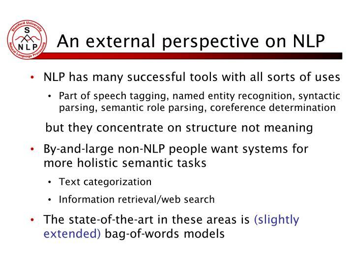 An external perspective on NLP