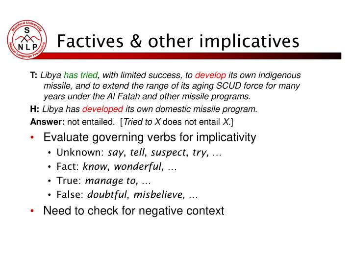 Factives & other implicatives