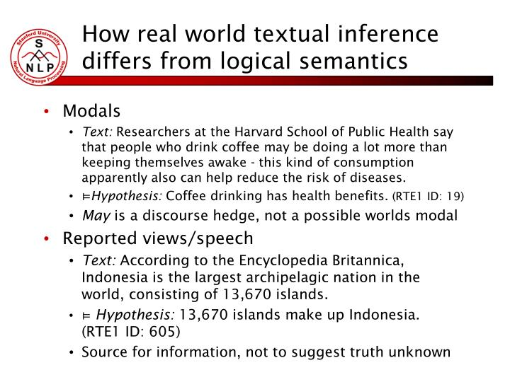 How real world textual inference differs from logical semantics