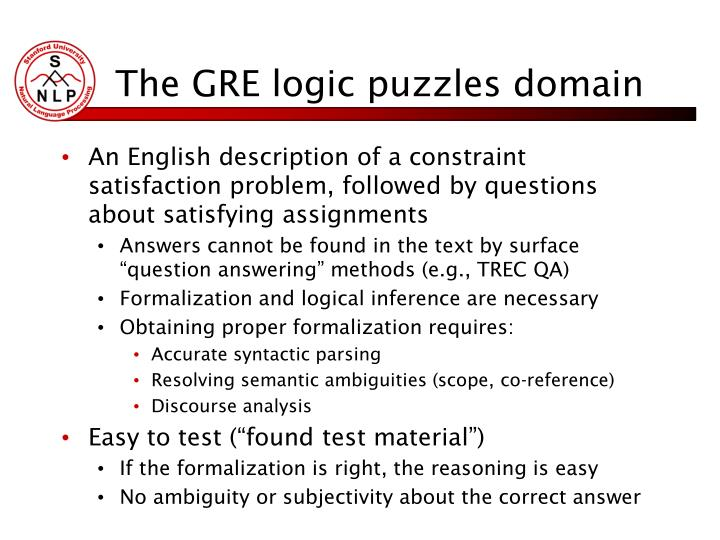 The GRE logic puzzles domain