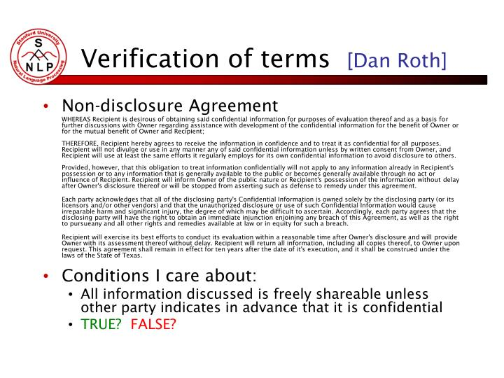 Verification of terms