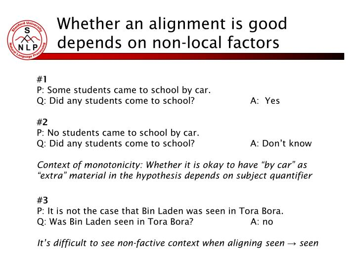 Whether an alignment is good depends on non-local factors