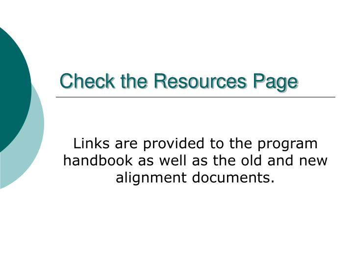 Check the Resources Page